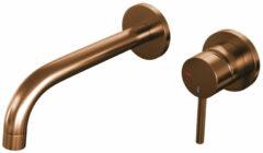 Brauer Copper Edition wastafelmengkraan inbouw energy-saving met rozetten, gebogen uitloop Koper Geborsteld PVD