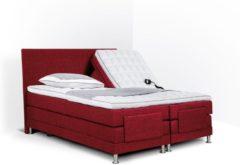 Bordeauxrode Boxspring Flanny compleet, merk Olympic Life®, elektrisch verstelbaar, 140 x 210 cm, bordeaux, 18-delig