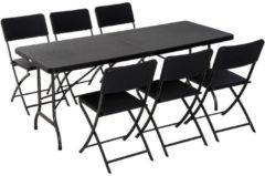 Outsunny Campingtisch Picknicktisch Sitzgruppe 7 tlg. klappbar Schwarz Campingtisch Picknicktisch camping-klapp-möbel