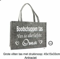 Antraciet-grijze Merkloos / Sans marque Vilten Boodschappen- Shopper - Tas voor Oma - Verjaardag - Geschenk - Gepersonaliseerd Cadeau - Moederdag Kleur Antraciet