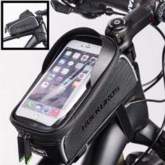 Zwarte Decopatent® PRO Fiets Frametas met Telefoonhouder - Frametas Fietstas - Waterdicht - Racefiets - MTB - Fietsen - Tot 6.0 Inch Gsm