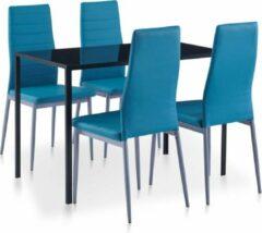 Merkloos / Sans marque Complete Eettafel blauw set 5 delig met glazen tafel (Incl Dienblad) - Eet tafel + 4 Eetstoelen - DIneertafel - Eettafelstoelen - Eetkamerstoelen - Eethoek 4 persoons