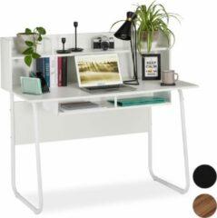 Relaxdays bureau - computertafel - open vakken - laptopbureau - vakken - kabeldoorvoer Wit / wit