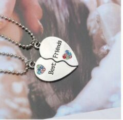 Zilveren Pippashop 2-delige ketting + hangers Best Friends hart met strass steentjes