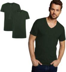 Donkergroene Bamboo Basics - 2-Pack Heren Bamboe T-shirts V- Hals Velo – Extra Lang – Army - XXL