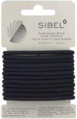 Zwarte Sibel - Thick Elastic Hair Bands - Black - 12 Stuks