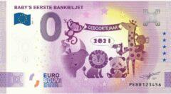 Paarse 0 Euro Biljet 2021 - Baby's eerste bankbiljet