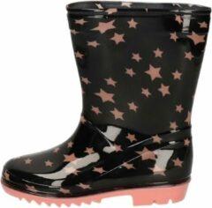 Apollo Zwarte peuter/kinder regenlaarzen zwart met roze sterretjes - Rubberen laarzen/regenlaarsjes voor kinderen 26