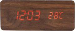 Voordeeldrogisterij Premium Houten Wekker met Qi Charging, ECQ-104NL - 17,2 x 8,2 x 7,2 cm