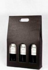 Vindivine Draagkarton zwart voor 3 flessen wijn - 50 stuks