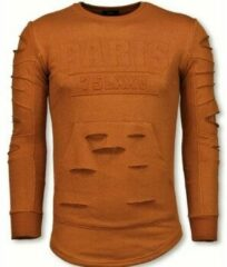 Justing 3D Stamp PARIS Trui - Damaged Sweater - Oranje Sweaters / Crewnecks Heren Sweater Maat XL