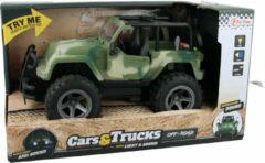 Donkergroene Toitoys Toi-Toys Super Jeep Auto met Licht en Geluid Legergroen