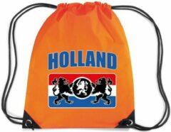 Bellatio Decorations Holland met wapenschild rugzakje - nylon sporttas oranje met rijgkoord - Nederland/oranje supporter - EK/ WK voetbal / Koningsdag
