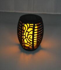 Zwarte Lumineo Solar tuinfakkel/tuinlamp vlam effect ovaal op zonne-energie 60 cm - Prikspots tuinverlichting