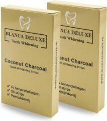 Gouden BLANCA DELUXE ® TEETH WHITENING STRIPS - Coconut Charcoal Whitening Strips - Tandenbleek Strips - Zonder Peroxide (0%) - 28 Tandenbleek Strips - 100% Natuurlijk - Veilig Bleekmiddel - Tandenblekers - Tandenbleekset - Tanden Bleken - Mintsmaak