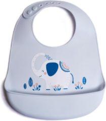 Grijze Telano® Slabbetje met Opvangbakje Olifant - Siliconen Slabber Baby Peuter - Verstelbaar en Waterproof - Kraamcadeau