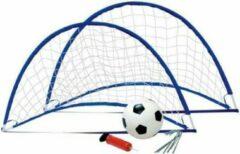 De Max Voetbaldoel 1st meeneem flexi goal blauw met plastic bal en pomp