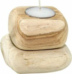 2x Elegante stoere houten kaarsenhouder houtsteen lichtbruin 'Jim' Lumbuck - waxinelichthouder S