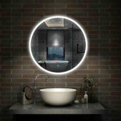 Aica Sanitair LED ronde badkamerspiegel diameter 60cm , randloze smalle rondom licht baan wandspiegel,enkele touch sensor schakelaar,koud wit,anti-condens
