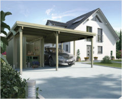 Bruine Weka Carport Plus 2 Inclusief bergruimte B 512 x D 606 x H 215 cm