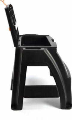 Merkloos / Sans marque Klus krukje met opbergvak en handvat – Handig Opstapje met opbergruimte – 47x41x42cm- Zwart/Oranje