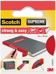 Rode Scotch Supreme reparatietape Strong & Easy, ft 19 mm x 3 m, rood, blisterverpakking