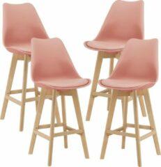 En.casa Barkruk set van 4 kunstleer en beuken 105x48x58 cm roze