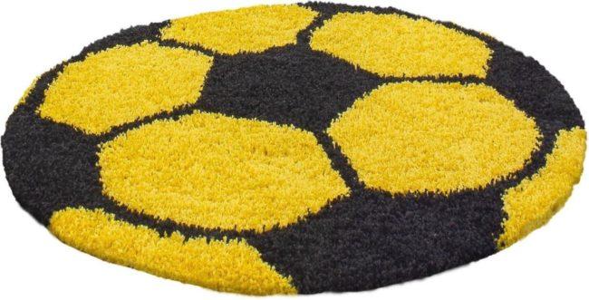 Afbeelding van Adana Carpets Rond Hoogpolig vloerkleed - Fun Geel Ø 100cm