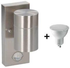 Roestvrijstalen Grundig buitenlamp met sensor - 35W - IP44 - 220-240V - 11x7x15cm