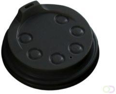 Depa Bekerdeksel Ø80mm met drinkgat zwart 50 stuks