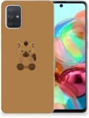 Bruine Samsung Galaxy A71 Telefoonhoesje met Naam Baby Hyena