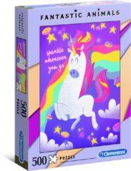 Clementoni - Fantastic Animals puzzel - Unicorn - 500 stukjes, puzzel volwassenen