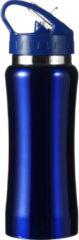 Bellatio Design Drinkfles/waterfles 600 ml metallic blauw van RVS - Sport bidon waterflessen