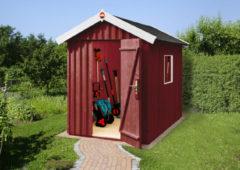 Rode Blokhut Zweeds huis Gr. 1 200 x 208cm rood/wit