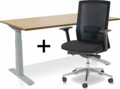 Lineaflex MRC Zit-sta bureau elektrisch verstelbaar + ERGO Bureaustoel | ARBO PRO Thuiswerkset | frame bureau aluminium - bureaublad havanna | 140x80 cm
