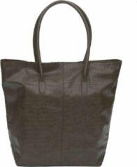 Donkergroene Zebra Trends Natural Bag Kartel met Rits - CROCO - Army groen