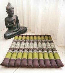 DeSfeerbrenger Meditatiemat – Yogamat – meditatiemat vierkant - Vierkant matje – Thais matje – 50x50x4 cm - Groen/bruin