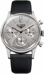 Zwarte Elysee Horloge Classic I 38012 - 39 mm - Zilverkleurig