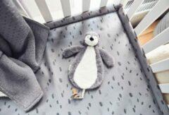 Grijze Jollein Speendoekje Pinguïn | speendoek |Storm Grey | speendoekje pinguïn storm grey | jollein