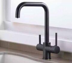Blackline TS- Zwarte keukenkraan-zuiver water kraan, 3 weg keukenkraan-3 in 1 kraan.