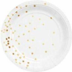 Stemen Kartonnen Bordjes wit met stippen 18cm 10st - Wegwerp borden - Feest/verjaardag/BBQ borden / Gebak bordjes maat