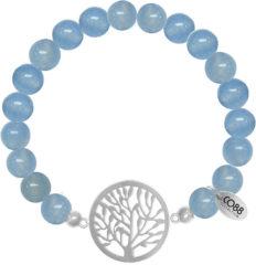 Lichtblauwe CO88 Collection Beloved 8CB 80015 Rekarmband met Stalen Elementen - Levensboom - Jade Natuursteen 8 mm - One-size - Blauw