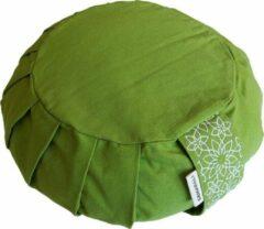 Samarali meditatiekussen rond (Groen) - ethisch geproduceerd van 100% biologisch katoen (GOTS gecertificeerd)  2lagen   25 x 25 x 17 cm  Verkrijgbaar in 6 natuurlijke kleuren