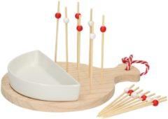 Rode Alpina serveerset – 17-delig – serveerplank, bakje en 15 prikkers – voor hapjes, pincho's en amuses