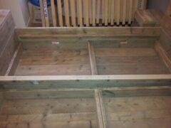 KSM-Steigerhout Twee persoons Bed ''Block'' van steigerhout - Gebruikt steigerhout - Tweepersoons - 180x200cm - Gemonteerd geleverd - Gratis bezorging