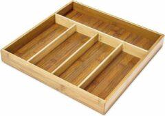 Naturelkleurige Relaxdays Bestekla bamboe hout- Houten besteklade - 5 vakken bestek la - 34 x 33,5 cm.