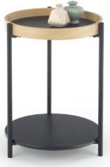 Home Style Bijzettafel Rolo 44x55x44 cm breed in natural eiken met zwart