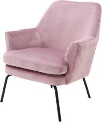 Lisomme fauteuil Jez - Fluweel - Roze