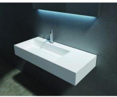 Witte Cross Tone Solid surface opbouwwastafel B90xD48xH13cm rechthoek zonder waste wit mat CTS-2015