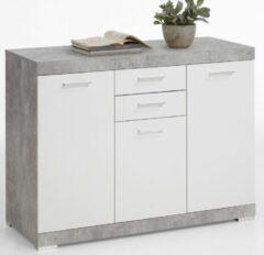 FD Furniture Dressoir Bristol 3 XL van 120 cm breed in grijs beton met wit